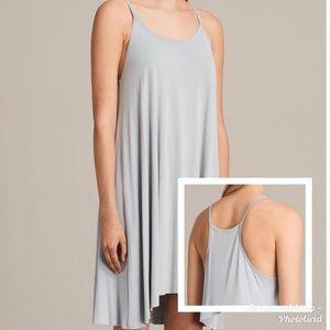 All Saints Conley Dress In Grey/Silver Size